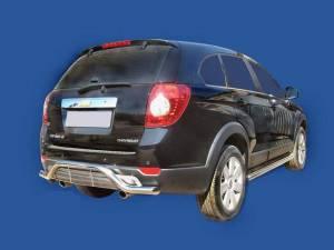 Защита заднего бампера с декоративной решёткой d60 на Chevrolet Captiva (2006-2012)