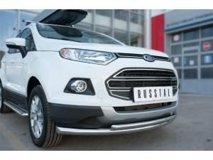 Защита переднего бампера двойная d63/42 на Ford Ecosport (2014-)