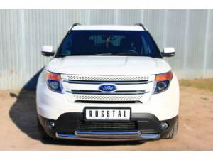 Защита переднего бампера двойная d63/63 на Ford Explorer (2012-)