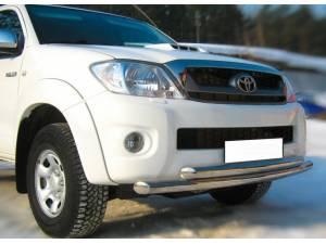 Защита переднего бампера двойная d63/63 на Toyota Hilux (2011-2014)