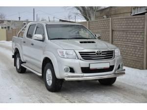 Защита переднего бампера двойная d76/60 на Toyota Hilux (2011-2014)