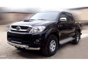 Защита переднего бампера с накладками d76 на Toyota Hilux (2011-2014)