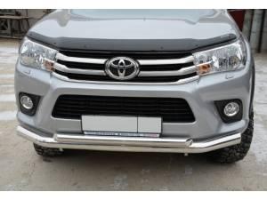 Защита переднего бампера двойная d76/60 на Toyota Hilux Revo (2015-2018)