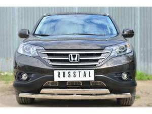 Защита переднего бампера двойная овальная d75/42 на Honda CRV 2.4 (2013-)