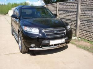 Защита переднего бампера двойная d50/60 на Hyundai Santa Fe (2006-2010)