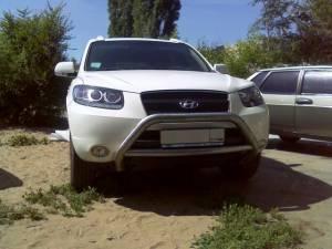 Кенгурятник низкий с защитой картера d76 на Hyundai Santa Fe (2006-2010)