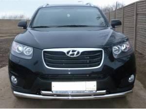 Защита переднего бампера двойная d60/50 на Hyundai Santa Fe (2010-2012)