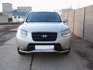 Защита переднего бампера d60 на Hyundai Santa Fe (2010-2012)