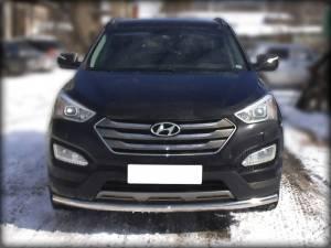 Защита переднего бампера d60 на Hyundai Santa Fe (2013-)