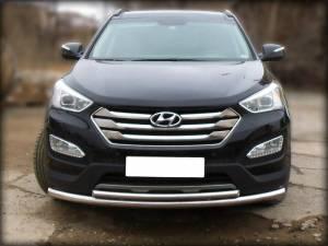 Защита переднего бампера двойная d60/43 на Hyundai Santa Fe (2013-)