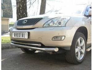 Защита переднего бампера двойная d63/42 на Lexus RX 300/330/350 (2003-2009)