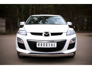 Защита переднего бампера овальная d75/42 на Mazda CX-7 (2010-2012)