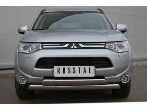 Защита переднего бампера овалы (дуга) d75/42 на Mitsubishi Outlander (2012-2013)