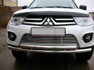 Защита переднего бампера двойная d60/60 на Mitsubishi Pajero Sport (2008-2012)