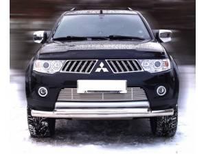 Защита переднего бампера двойная d76/60 на Mitsubishi Pajero Sport (2008-2012)