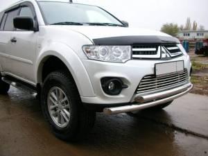 Защита переднего бампера двойная d60/60 на Mitsubishi Pajero Sport (2013-)