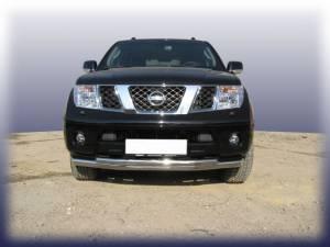 Защита переднего бампера двойная d76/60 на Nissan Navara D40 (2005-)