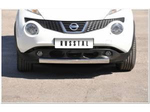 Защита переднего бампера овал d75/42 на Nissan Juke 4x2 (2011-)