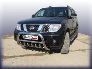 Кенгурятник низкий с защитой картера d76 на Nissan Pathfinder (2005-2010)