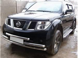 Защита переднего бампера тройная d60 на Nissan Pathfinder (2005-2010)
