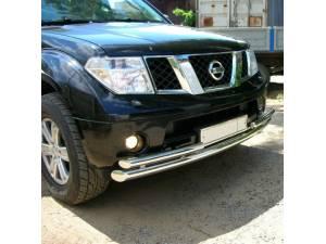 Защита переднего бампера двойная d70/53 на Nissan Pathfinder (2005-2010)