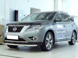 Защита переднего бампера d60 на Nissan Pathfinder (2014-)