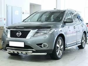 Защита переднего бампера с защитой картера d60 на Nissan Pathfinder (2014-)