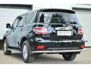 Защита заднего бампера d63 на Nissan Patrol (2014-)