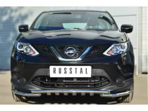 Защита переднего бампера с доп. элементами d42/42 на Nissan Qashqai (2014-)