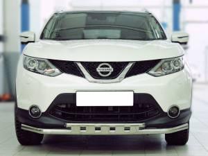 Защита переднего бампера двойная с доп.накладками d53/43 на Nissan Qashqai (2014-)