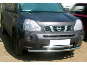 Защита переднего бампера двойная d60 на Nissan X-Trail (2007-2011)