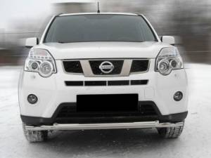 Защита переднего бампера двойная d60/53 на Nissan X-Trail (2011-2014)
