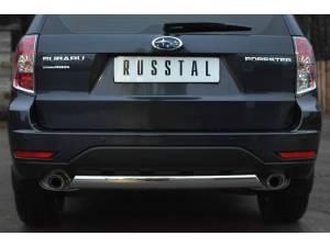 Защита заднего бампера d75/42 (овал) на Subaru Forester (2009-2013)