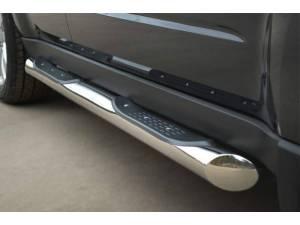 Пороги труба d76 с накладками (вариант 1) на Subaru Forester (2009-2013)