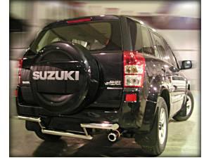 Защита заднего бампера двойная d60/53 на Suzuki Grand Vitara (5 дв.) (2005-2008)
