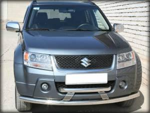 Защита переднего бампера двойная d60/60 на Suzuki Grand Vitara (5 дв.) (2005-2008)