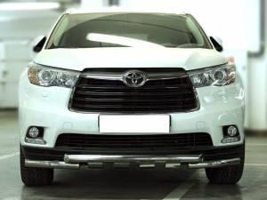 Защита переднего бампера d60 с доп. накладками на Toyota Highlander (2014-)