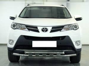 Защита переднего бампера d53 с доп. накладками на Toyota Rav4 (2013-2015)