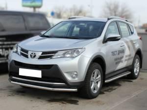 Пороги с накладным листом d43 на Toyota Rav4 (2013-2015)