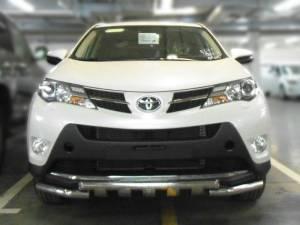 Защита заднего бампера d60 с доп. накладками на Toyota Rav4 (2013-2015)