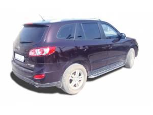 Пороги с накладным листом d53 на Hyundai Santa Fe (2010-2012)