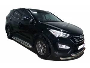 Защита переднего бампера двойная d60/42 на Hyundai Santa Fe (2013-)