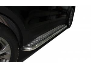 Пороги с накладным листом d53 на Hyundai Santa Fe (2013-)