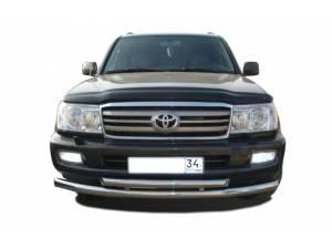 Защита переднего бампера двойная d76/60 на Toyota Land Cruiser 100 (1997-2008)