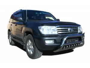Кенгурятник низкий с защитой d76/60/42 на Toyota Land Cruiser 100 (1997-2008)