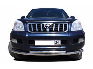 Защита переднего бампера двойная (радиус) d76/60 на Toyota Land Cruiser 120 (2003-2009)