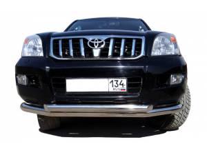 Защита переднего бампера двойная d76/60 на Toyota Land Cruiser 120 (2003-2009)