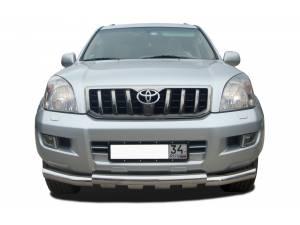 Защита переднего бампера двойная d76/76 на Toyota Land Cruiser 120 (2003-2009)