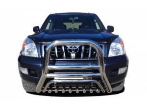 Кенгурятник высокий с защитой d76/60/42 на Toyota Land Cruiser 120 (2003-2009)