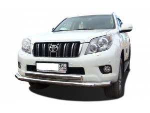 Защита переднего бампера двойная (овал) d76/75 на Toyota Land Cruiser 150 (2014-)